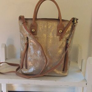 NWT Gold pony hair mini tote from Anthropology!